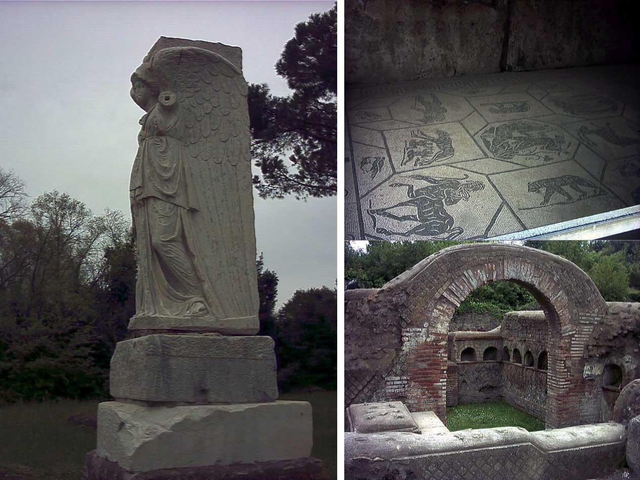 Parco archeologico Ostia Antica a Roma, immagini rovine antico porto romano, fotografie scavi, testimonianza arte civiltà romana
